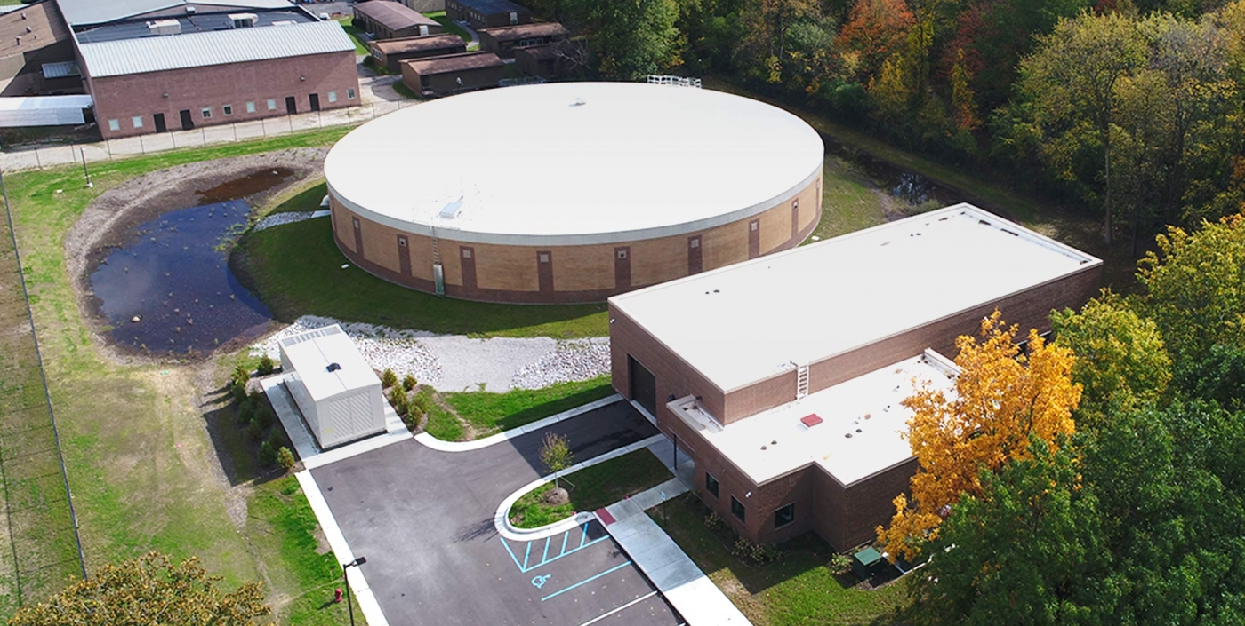 Aerial view of Canton, Michigan's water storage tank, designed by OHM Advisors to reduce costs.