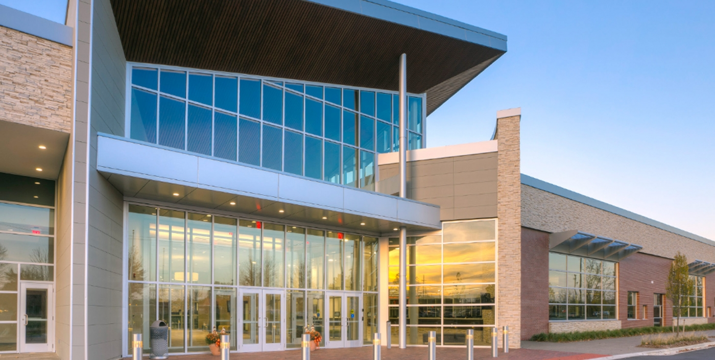 Westland, Michigan's City Hall, designed by OHM Advisors, boasts expansive glass panels so daylight can flood an open concept interior.