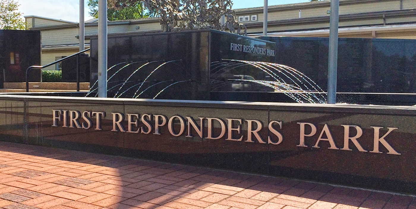 Fountain at Hilliard First Responders Park  is central to this plaza designed for reflection and remembrance.
