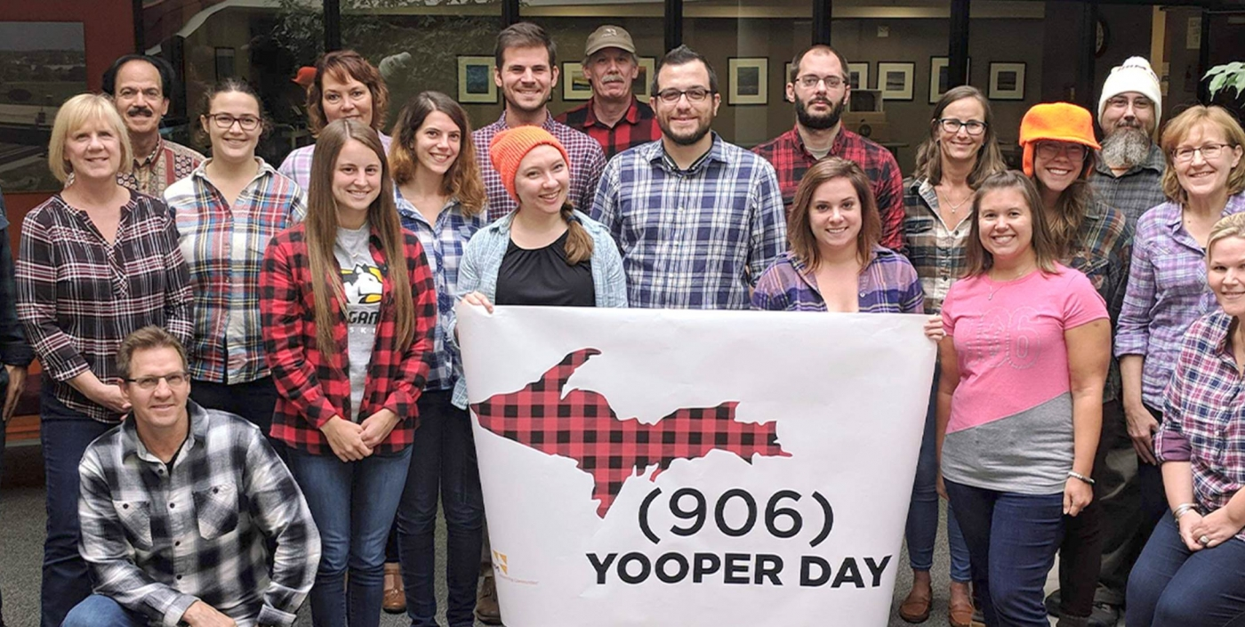 Staff born in Michigan's Upper Peninsula are mad for plaid on Yooper Day.
