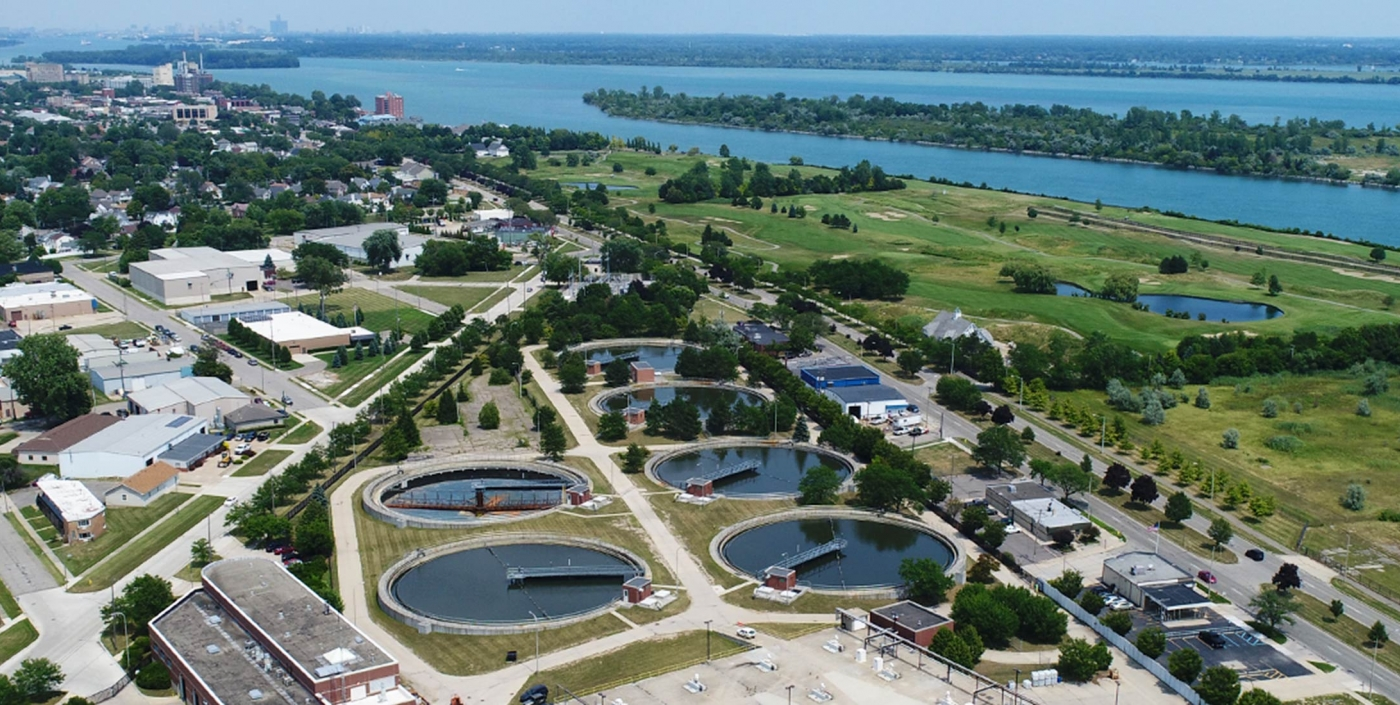 An aerial view of the Downriver System, the second largest wastewater system in Michigan.
