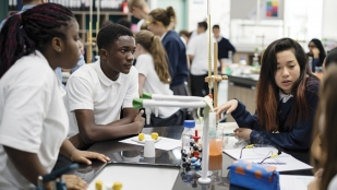 Teenagers in science lab, 21st-century learning