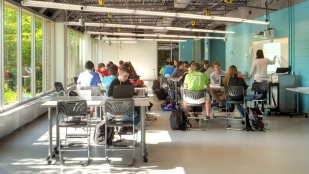 Marysville STEM High School offers small classrooms, reconfigurable furniture and bright colors.