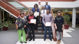 The 2019 Diversity Scholarship winners receive funds for college.