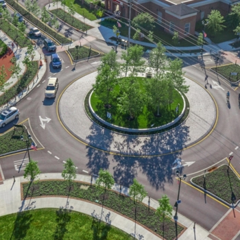 An aerial view of the new roundabout designed by OHM Advisors for the city of New Albany, Ohio.