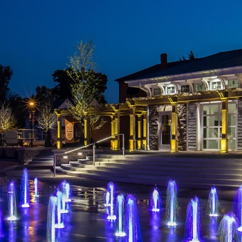 Hilliard, Ohio's First Responders Park includes a plaza that lights up at night.