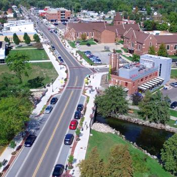 An aerial view of Fenton, Michigan's downtown streetscape and road rehabilitation project, led by OHM Advisors.