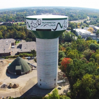 The elevated water tank in Farmington Hills, MI, designed by OHM Advisors, reduces peak water system demand and saves the city millions of dollars annually.