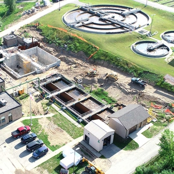 An aerial view of the Village of Milford's wastewater treatment plant improvement.