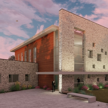 A stone and brick facade rendering of the future Raines Institute.