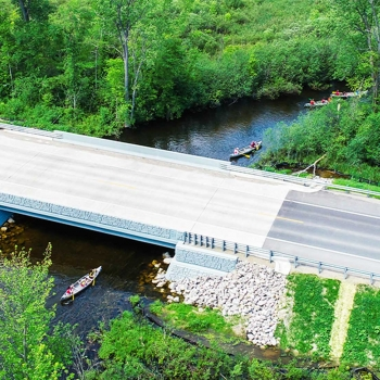The Wixom Road bridge replacement accommodates park-going canoe and kayak traffic traveling.