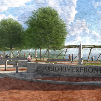 A sketch of the Ohio Riverfront Park in Downtown Marietta, as part of the historic vision and plan.