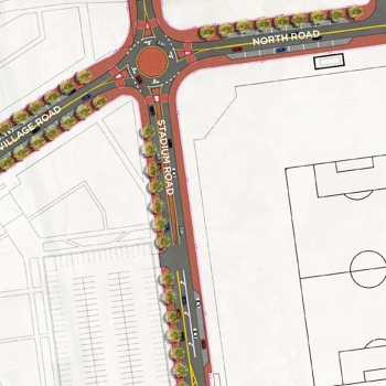 Roadway layout and roundabout surrounding Confluence Village, the future new home of Major League Soccer's Columbus Crew.