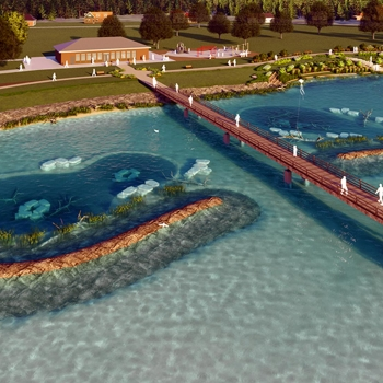 An aerial view rendering of park users crossing the bridge at the Brandenburg Park Shoreline.