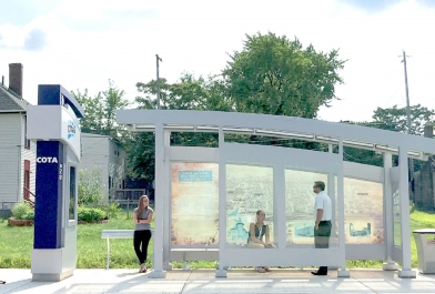 OHM Advisors worked with the Central Ohio Transit Authority to design bus stops for the region's first Bus Rapid Transit, the CMAX.