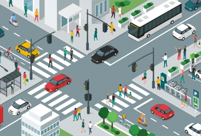 Various transportation needs and safe pedestrian crossings at an intersection.