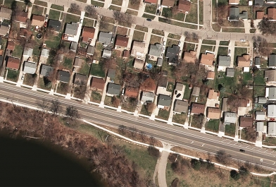 Aerial of Grove Road in Washtenaw County, after OHM Advisors worked with WCRC on emergency stabilization.
