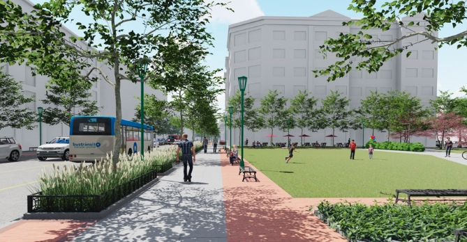 A rendering of Lane Avenue with more open space and increased walkability.