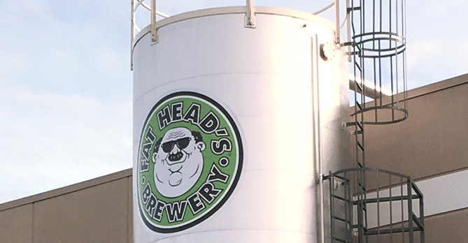 A zoomed in photo of Fat Head's Brewery spent solids silo.