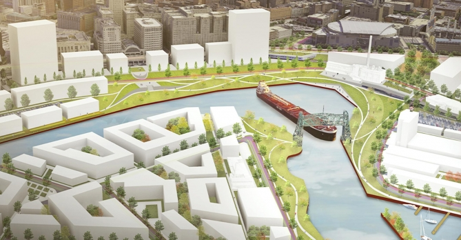 Cleveland's Vision for the Valley includes Collision Bend, narrow and crooked passages along Cuyahoga River.