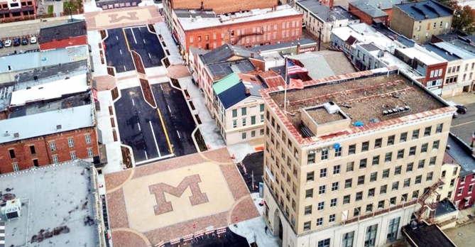 "Aerial streetview of City of Massillon ""M"" branding"