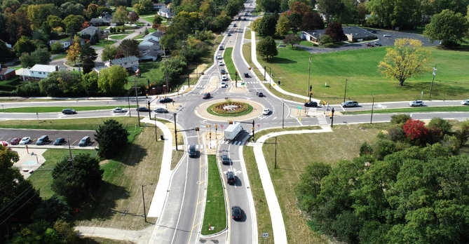 Distant aerial image of Maple & Middlebelt Road Roundabout in West Bloomfield, MI.