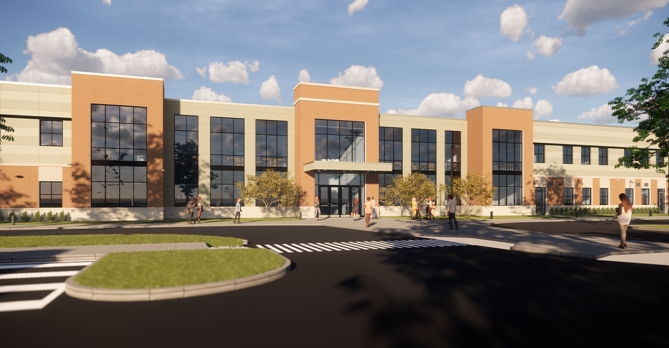 Exterior view of the newly designed Jerome Middle School in Dublin, OH.