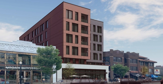 Design rendering of OSU multifamily building on High Street from the front